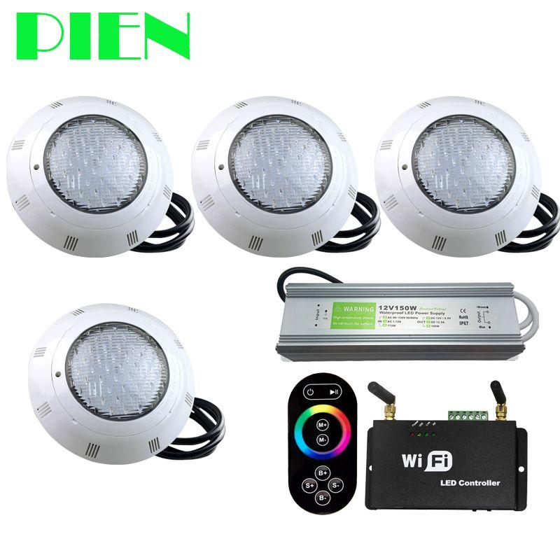 WIFI Drahtlose RGB LED poolbeleuchtung Harz gefüllt Par56 Unterwasser Luz Piscina IP68 12 V 18 Watt 42 Watt mit RF Remote Power supply 4 stücke