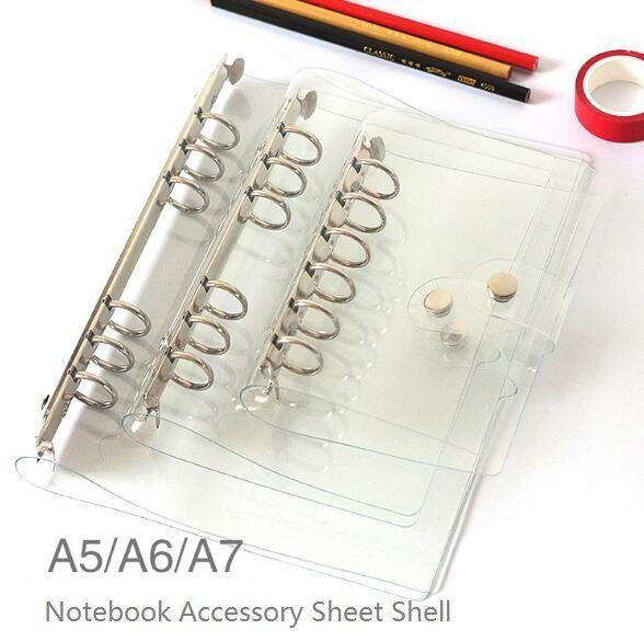 2017 A5/A6/A7 PVC Portable Accessoire Feuille Shell Bureau École Papeterie Transparent Concise 6 Trous Liant Planificateur couverture