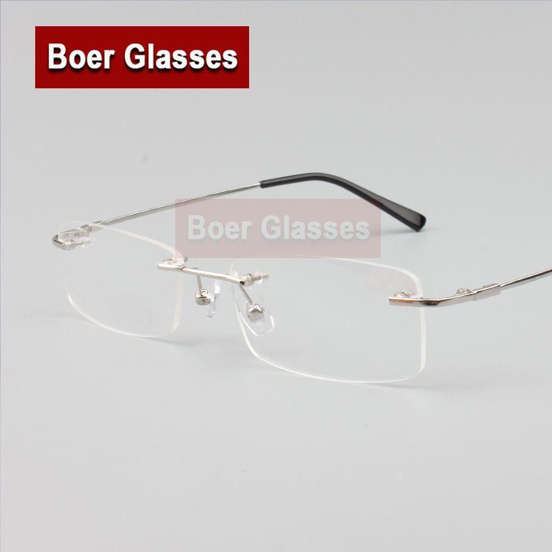 Lunettes sans monture mémoire titanium flexibles hommes lunettes lunettes de prescription optique de spectacle 8119