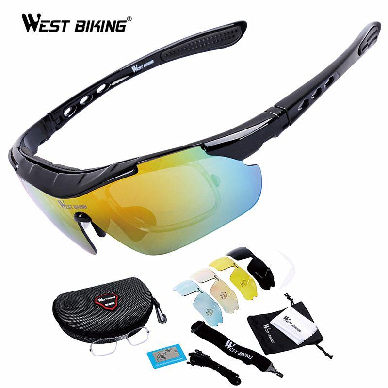 WEST BIKING Cycling Glasses 5 <font><b>Lens</b></font> Windproof Anti-fog With Mypia Frame Sport MTB Bike Bicycle Polarized Cycling Glasses 5 <font><b>lens</b></font>