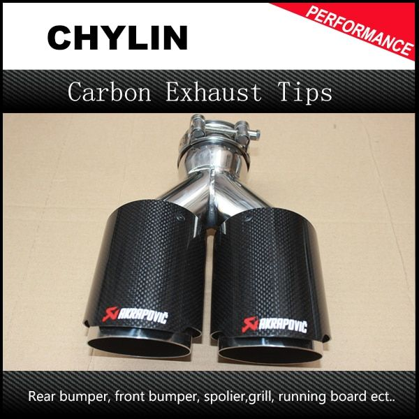 Inlet 2.5 Outlet 3.5 Stainless car glossy <font><b>Carbon</b></font> Fiber Car Exhaust Tip tailpipe car-styling exhaust car muffler tip Akrapovic