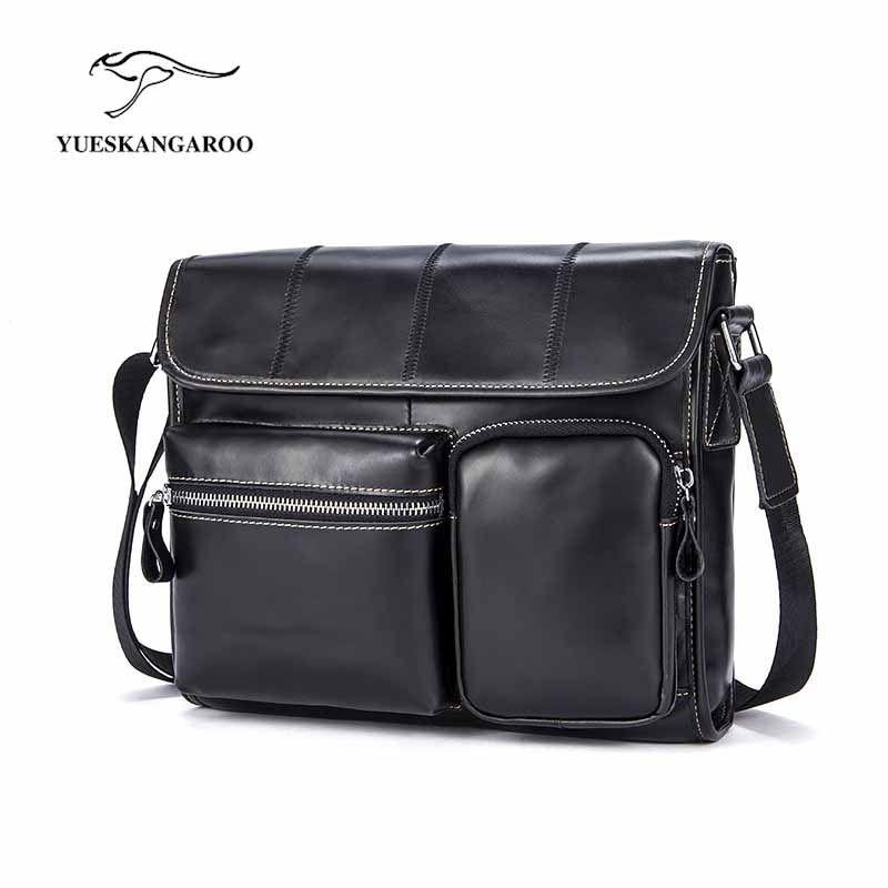 2018 begrenzte Yueskangaroo Männer Aktentasche Aus Echtem Leder Taschen Crazy Horse Handtaschen Büro Für Herren Messenger Aktentasche 380