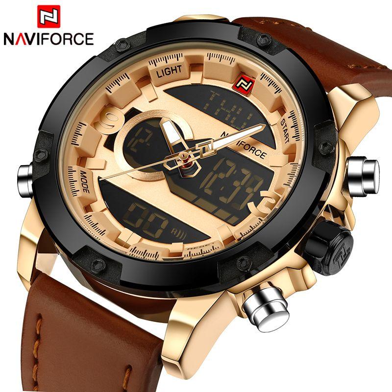 Top Luxury Brand NAVIFORCE Men Sport Watches Men's Quartz LED <font><b>Analog</b></font> Clock Man Military Waterproof Wrist Watch relogio masculino