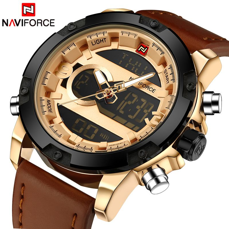Top Luxury Brand NAVIFORCE Men <font><b>Sport</b></font> Watches Men's Quartz LED Analog Clock Man Military Waterproof Wrist Watch relogio masculino