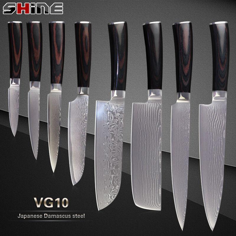 XYJ professiona Japonais Damas couteaux VG10 Damas acier core 8 pcs set outils de Cuisine de Haute Qualité à long terme Cuisine cadeau