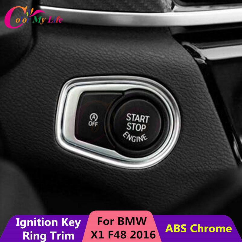 1 Piece Aluminum Car Ignition Key Protection Ring Trim Star Stop Enginer Key Sticker For BMW X1 F48 2016 2017 Accessories