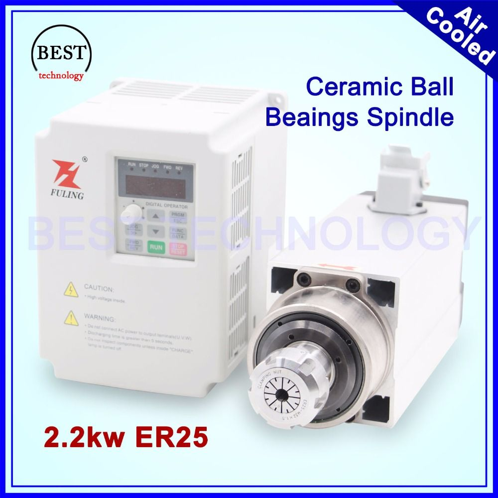 New Arrival! high accuracy 0.01mm 2.2kw 220v air cooled spindle ER25 air cooling Ceramic ball barings & 2.2kw Inverter/VFD