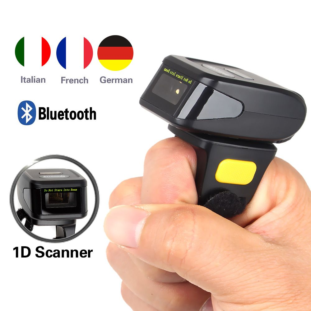Freies Verschiffen! Tragbare Wearable Ring Barcode Scanner 1D Reader Mini Bluetooth Scanner 360mA batterie