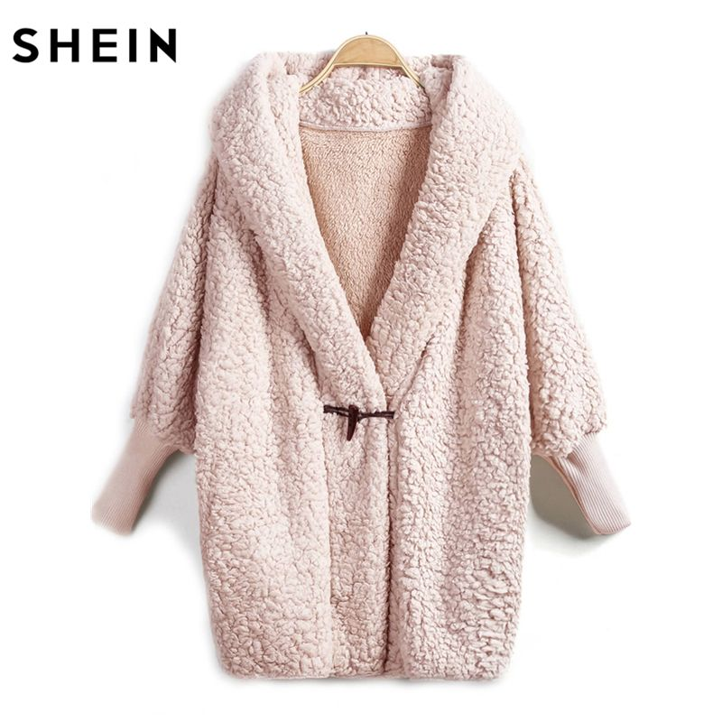 SHEIN Hooded Faux Fur Coat Women Elegant Fur Coats Autumn Winter Pink Long Sleeve Single Button Knee Length Coat