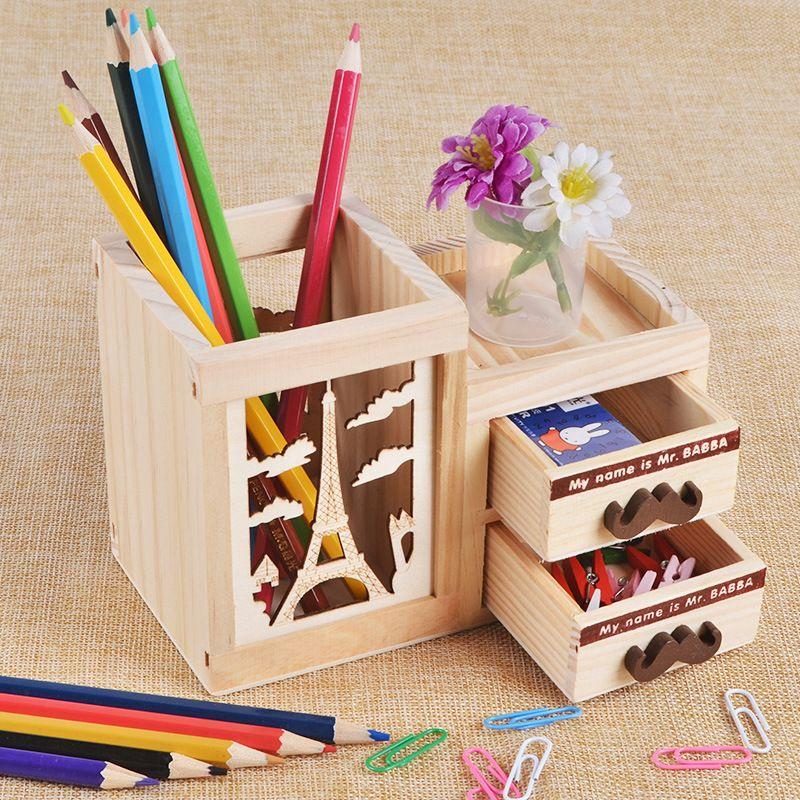 Creativo de la manera ahueca hacia fuera con Cajón De Madera lindo gato y torre de Escritorio titular pluma papelería de oficina de caja de almacenamiento de madera