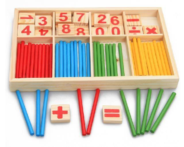 Bébé Jouets Comptage Bâtons L'éducation Des Jouets En Bois Intelligence Blocs Montessori Mathématiques Boîte En Bois Chil Cadeau