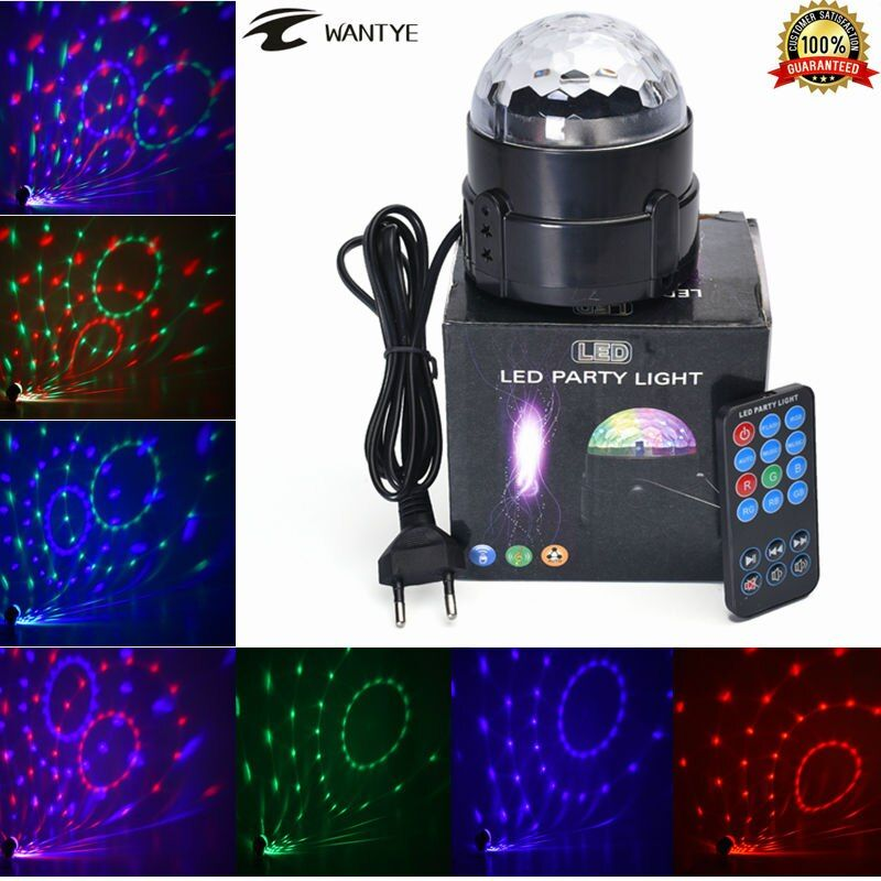 Mini RGB LED Crystal Magic Ball Stage Effect Lighting Lamp Party Disco Club DJ Bar Light Show + Remote Control