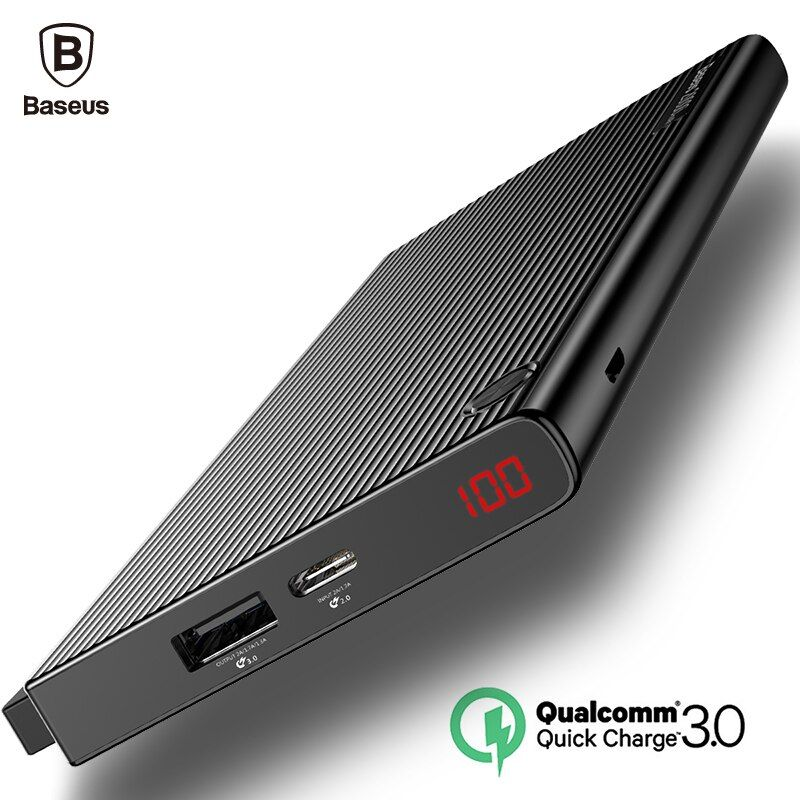 Baseus 20000mAh Power Bank Quick Charge 3.0 LCD Powerbank QC3.0 Dual USB External Battery 20000 mAh portable Phone Fast Charger