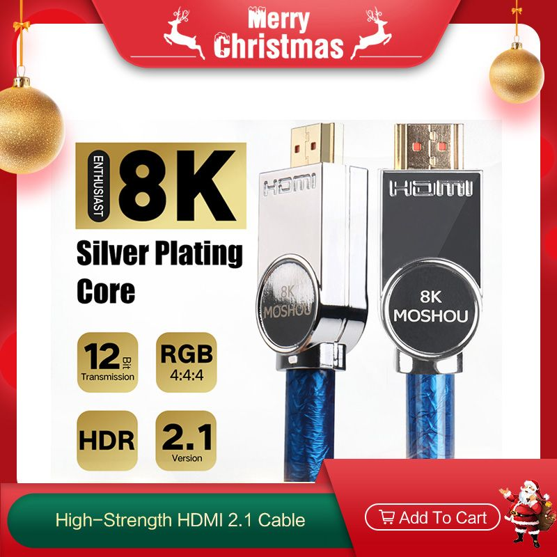 Real HDMI 2.1 Cable Ultra-HD (UHD) 8K HDMI 2.1 Cable 48Gbs with Audio & Ethernet HDMI Cord 1M 2M 5M 10M 15M 20M HDR 4:4:4