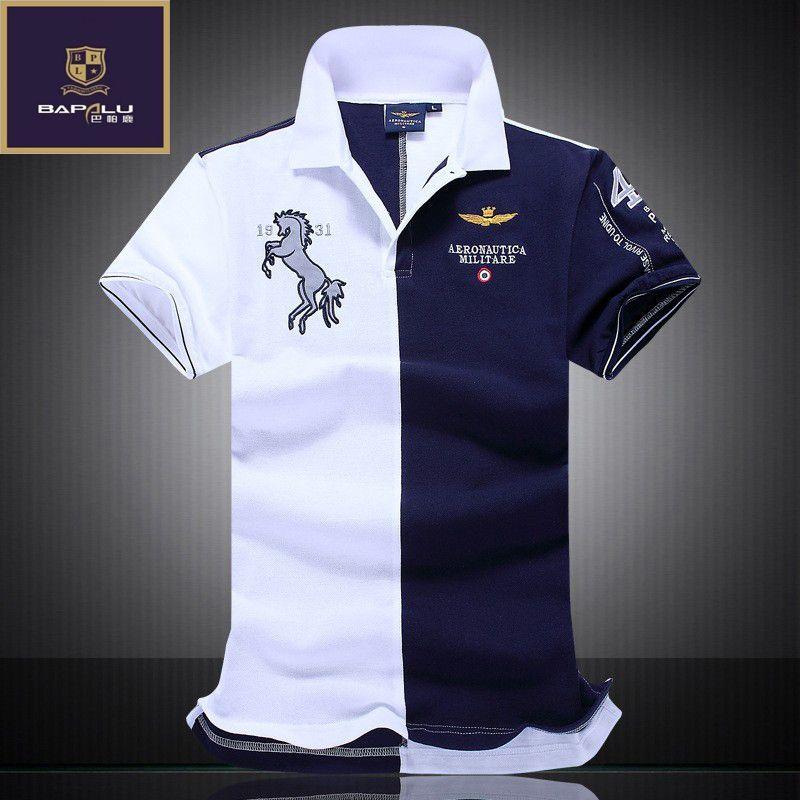 Été nouveaux hommes de broderie boutique respirant 100% coton polo revers homme D'air Force One polo taille m-XXL