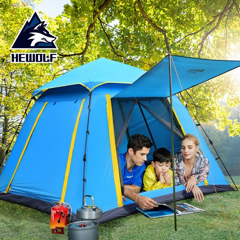 Hewolf 3-4 Personen Camping Zelt Wasserdicht Atmungsaktiv Große Raum Familie Zelt Schnell Öffnen Automatische Outdoor Camping Strand Zelt
