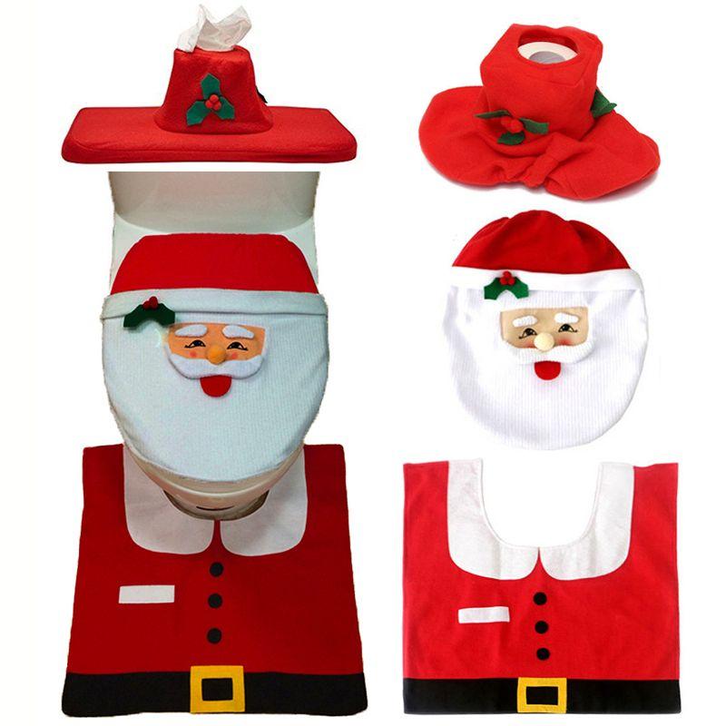 Noël Intérieur 3 pcs/ensemble De Noël Décoration De Noël Heureux Santa Siège De Toilette Couverture et Tapis Salle De Bains Nouvelle Année décorations pour la maison