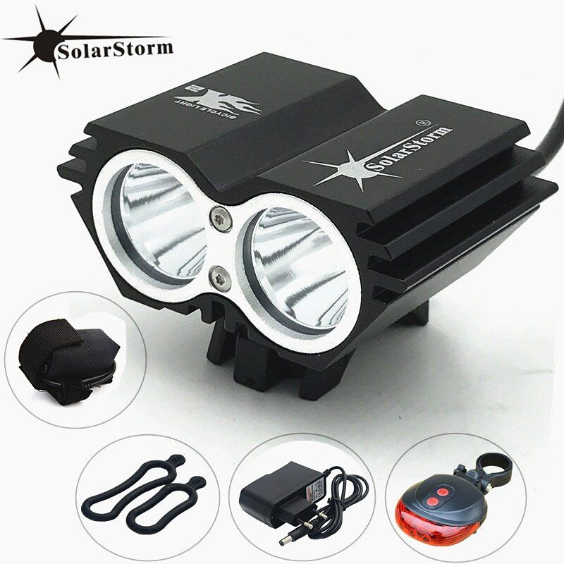 SolarStorm XM-L T6 LED Front Head Bicycle Bike Light Headlamp + Battery + Charger + Bike tail Light Free Shipping
