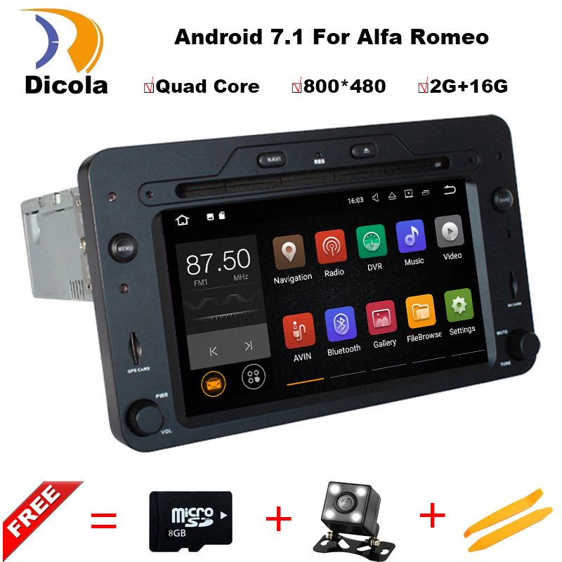 Android 7.1 Quad Core 2GB Car DVD GPS Navigation Player Car Stereo for Alfa Romeo Spider 2006 Radio headunit Bluetooth WIFI