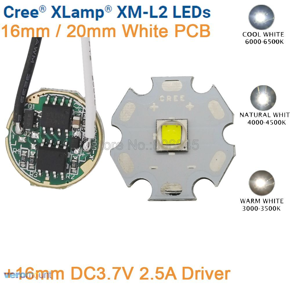 Cree XML2 XM-L2 T6 Cool White Warm White Neutral White 10W LED Emitter 20mm Black or White PCB with DC3.7V 2.5A 5 Mode Driver
