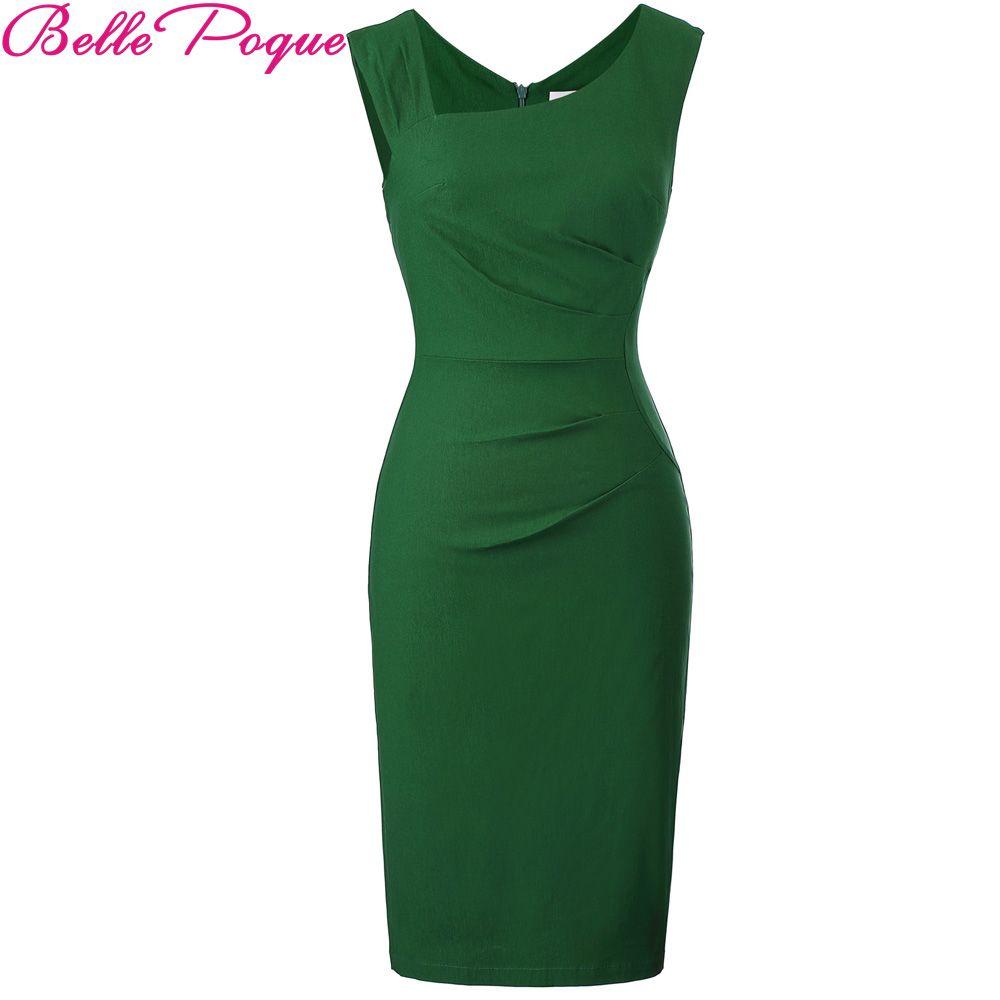 <font><b>Belle</b></font> Poque Women Office Dress Retro Vintage Sleeveless Back Split Vestidos Hips Wrapped Green Business Bodycon Pencil Dresses