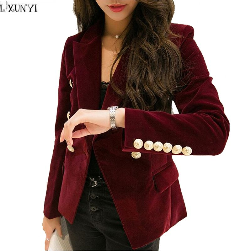 2019 Spring Velvet Blazer Women Slim Long Sleeve ladies Blazers feminino OL Formal Work Small Suit jacket Women Gold Button