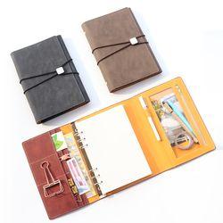 Domikee Klasik Vintage Kulit Kantor Sekolah Notebook Spiral Perlengkapan Alat Tulis, Baik Perban Binder Agenda Planner Organizer