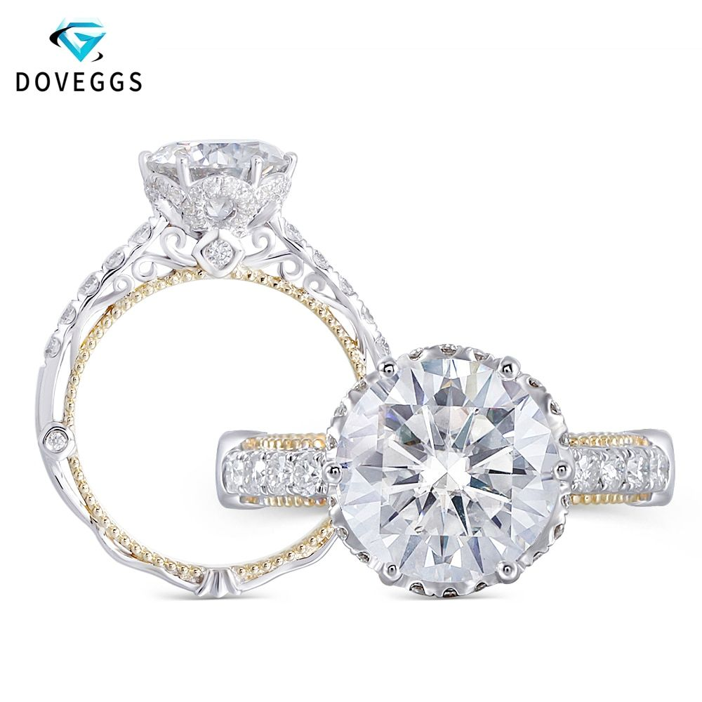 DovEggs Luxury Vintage 14K 585 White and Yellow Gold Center 2ct 8mm F Color Moissanite Engagement Ring for Women Wedding
