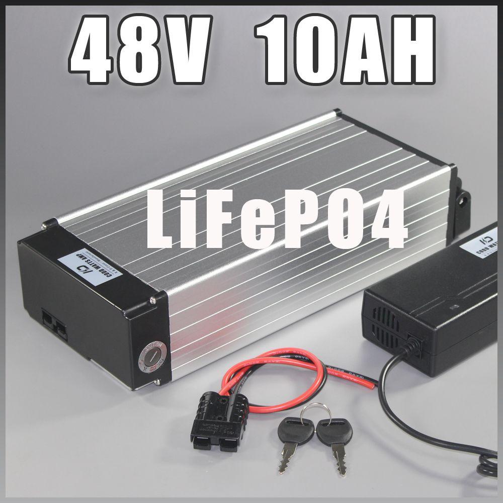 48 v 10AH LiFePO4 Batterie 48 v 1000 watt gepäckträger lifepo4 Lange lebensdauer Batterie