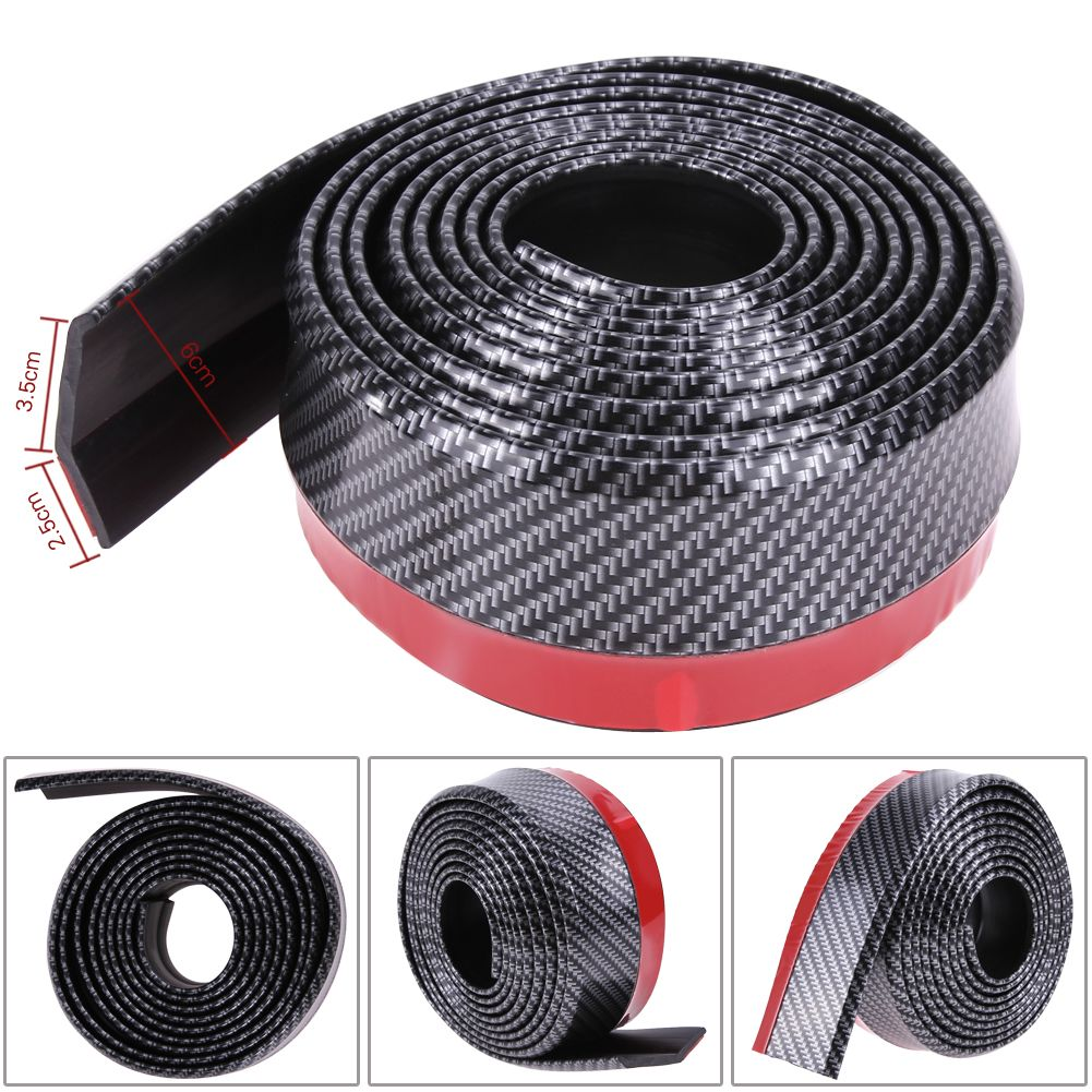 2.5M*6CM Black Soft Carbon Fiber Car Rubber Bumper Strip Outside Bumper Exterior Front Bumper Lip Kit Car bumper Strip Hot Sale