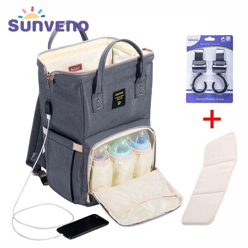 SUNVENO Fashion Mummy Maternity Diaper Bag <font><b>Large</b></font> Nursing Bag Travel Backpack Designer Stroller Baby Bag Baby Care Nappy Backpack