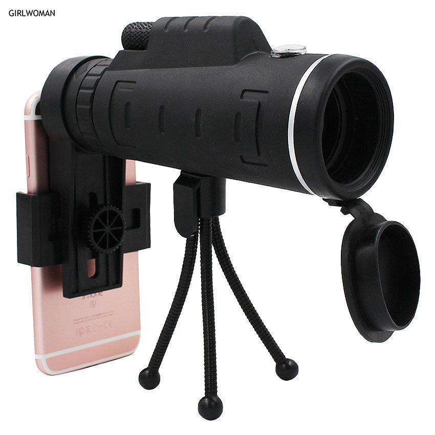 Girlwoman 40X Zoom Monoculaire Mobile Téléphone Télescope 40x60 Pour Iphone Huawei Xiaomi Smartphones Caméra lentilles En Plein Air Chasse
