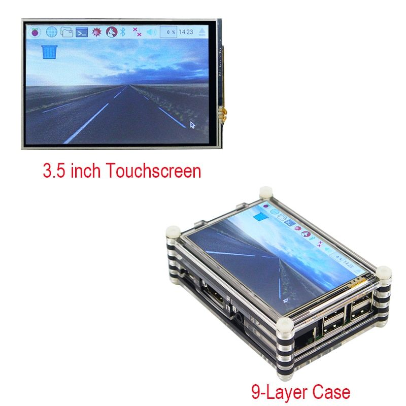 New Raspberry Pi 3.5 inch Touchscreen LCD Display + Black / Red 9 layer Acrylic Case and Raspberry Pi 3 2 Model B kit