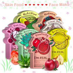 Je suis RÉEL Alimentaire Soins De La Peau Feuille Visage Masque Hydratant Contrôle de L'huile De Blanchiment Rétrécir Les Pores Masque Facial Coréen tony moly cosmétiques