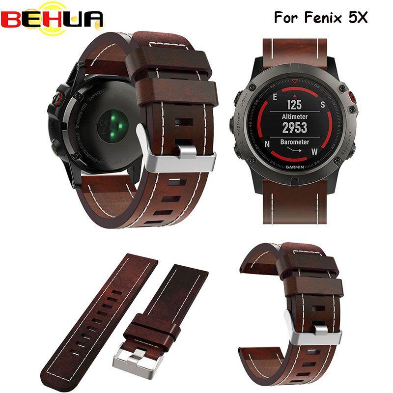 Watch band 2017 New good Leather wrist Watch Band Strap Bracelet Belt 26MM For Garmin Fenix 3/ Fenix 5X Smart Watch wristband