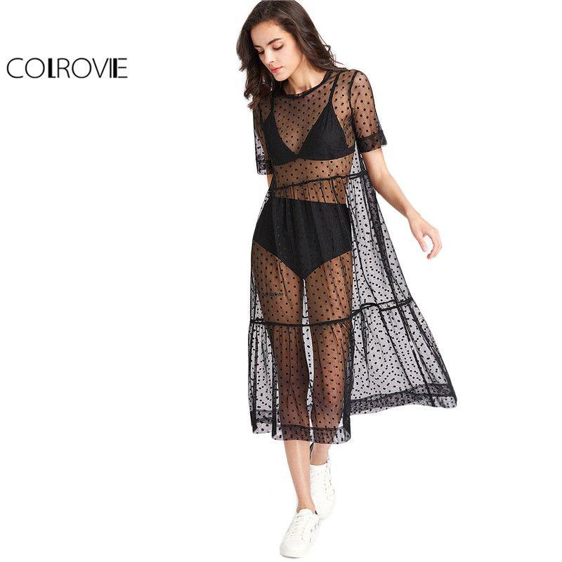 COLROVIE Tiered Sheer Dobby Mesh Dress Summer New Fashion Dress Women Beach Style Boho Short Sleeve A <font><b>Line</b></font> Dress