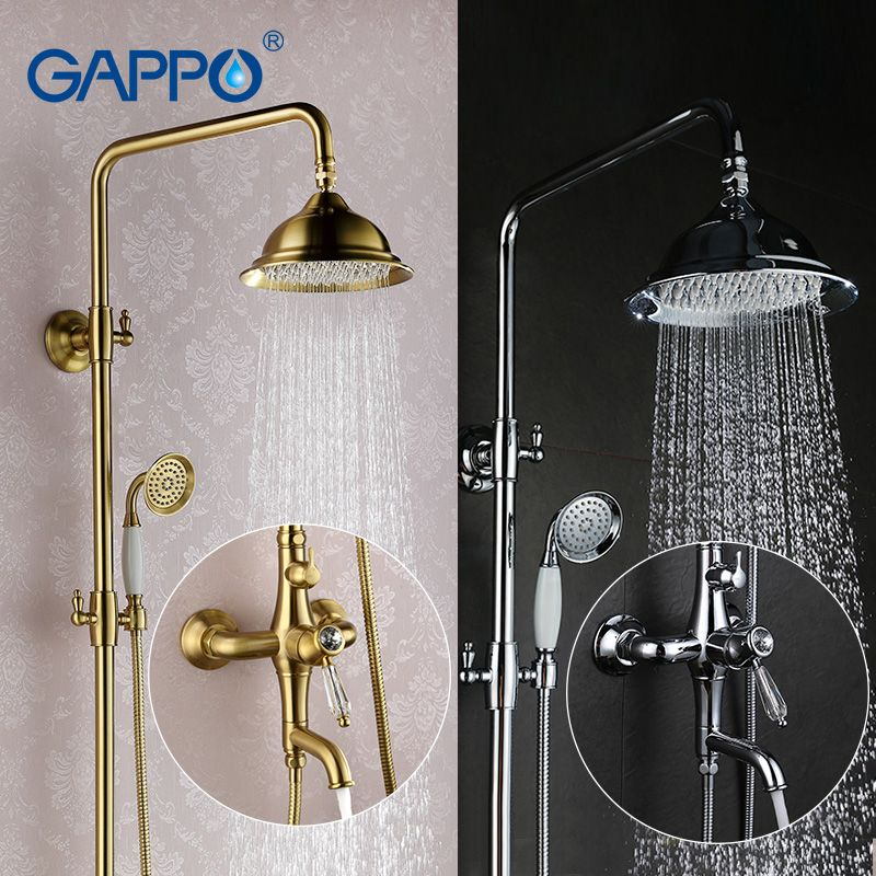 GAPPO bathroom shower faucet set bronze bathtub mixer shower faucet Bath Shower tap waterfall big rain shower headG2497 GA2497-4