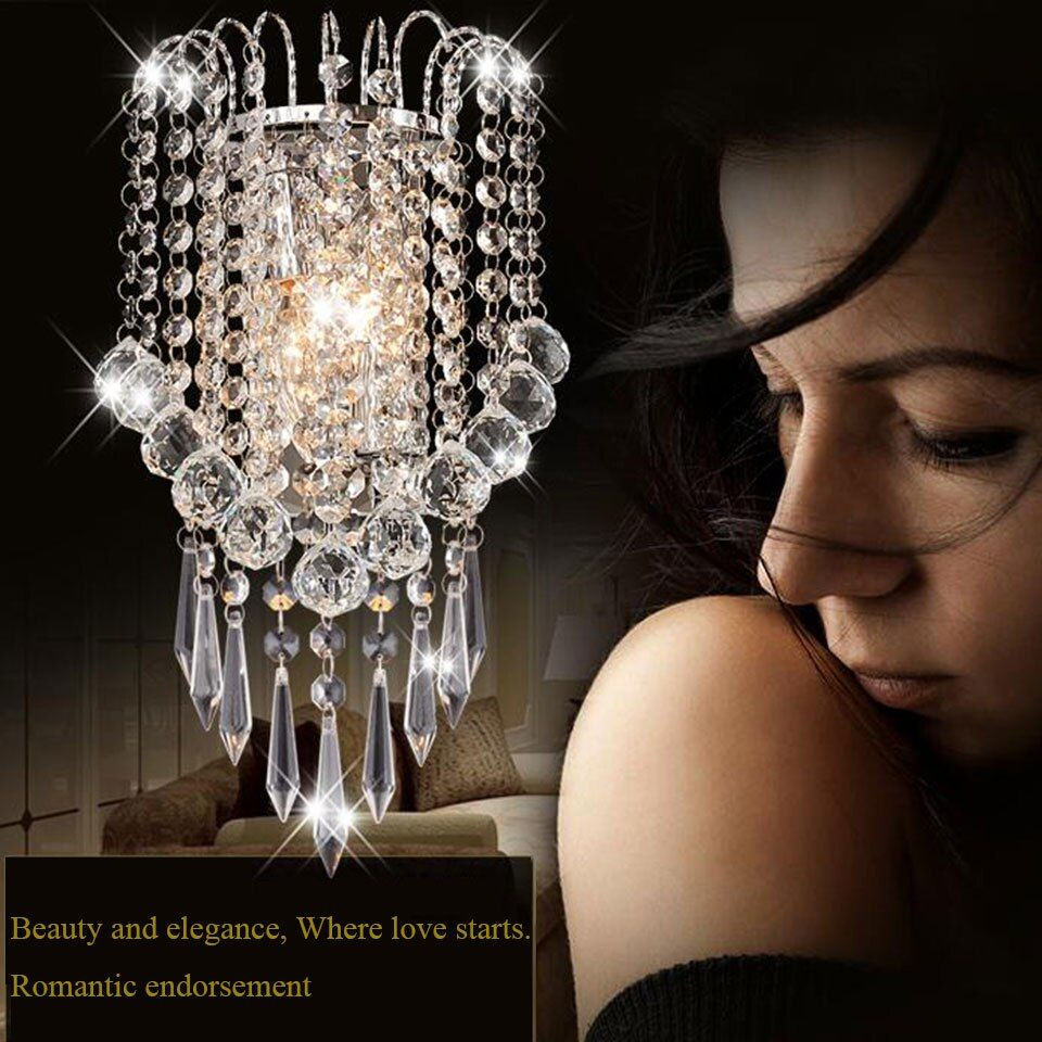 Modern Art Decor Stainless Steel Plating LED Crystal Wall Light Lamp Bedroom Home Wall Sconce Lighting Free Shipping