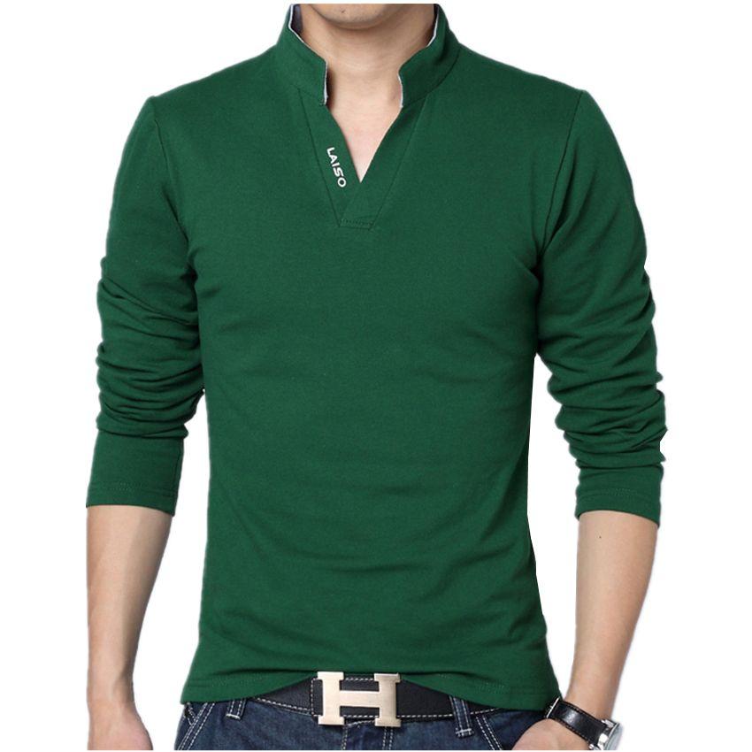 2018 Men Fashion Boutique Cotton Leisure Stand Collar Long Sleeve POLO Shirts Mens Pure Color V-neck POLO Shirt Big Size S-5XL