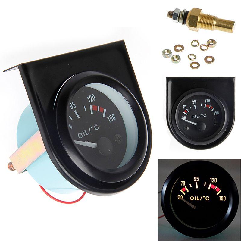 1 set 52mm LED Light Car Pointer Oil Temperature Temp Gauge 50-150 Degree