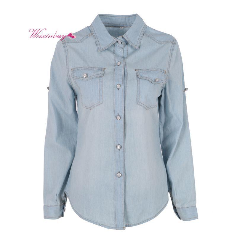 Printemps automne jeans femme femmes Blouse revers bouton bleu bas Denim Jean chemise femme poche haut de taille slim manteau Blouse Blusa