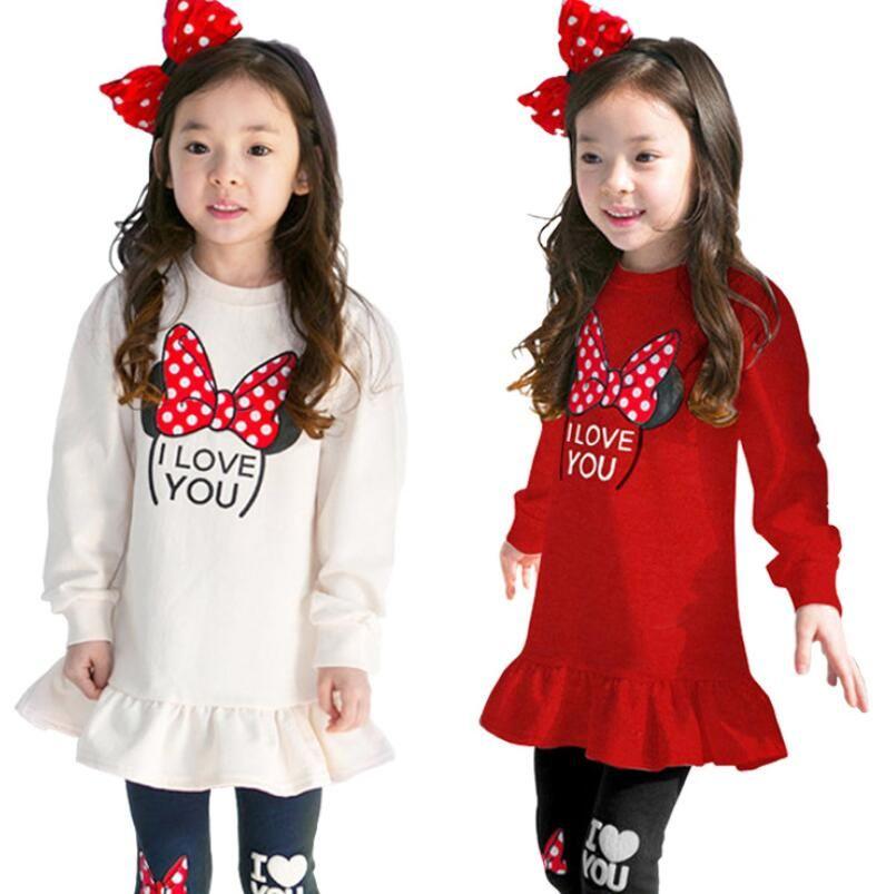 Nouveaux ensembles de vêtements pour enfants Costumes pour enfants Sport Costumes filles vêtements ensembles filles robe + pantalon dessin animé bébé filles vêtements