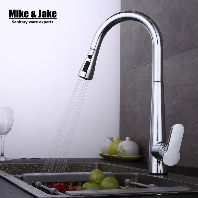 New Arrival Pull out Kitchen faucet 3 function Sink mixer Faucet Pull Out Dual Sprayer Nozzle Hot Cold Mixer Water Taps MJ408