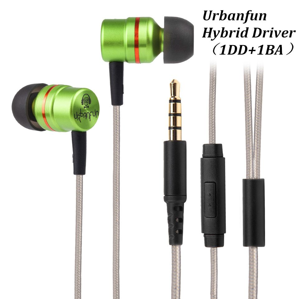 New URBANFUN Balance Armeture with Dynamic Hybrid Driver In ear Earphone urbanfun HiFi Headset Noise Canceling Headset With Mic