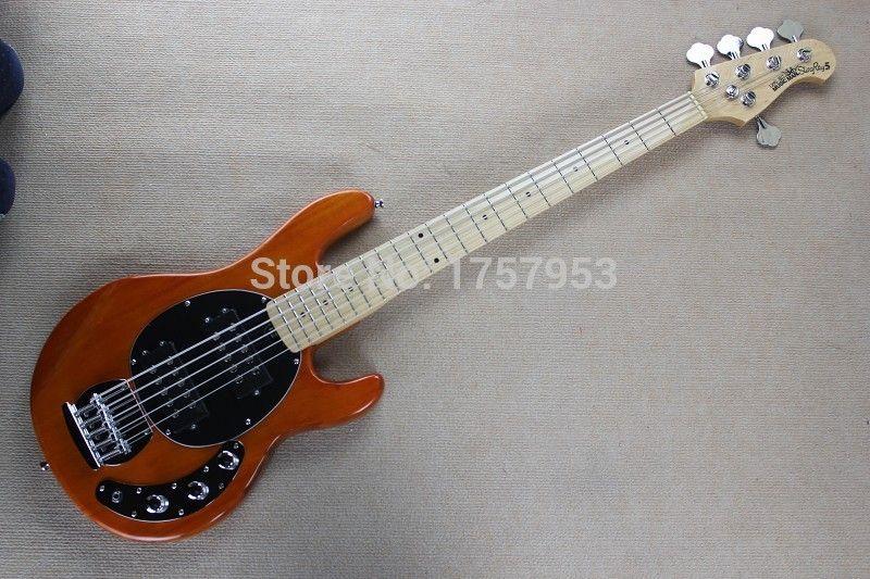 guitar factory 2017 New Ernie Ball Musicman Music Man Sting Ray Natural wood transparent orange 5 String Bass Guitar 11 10