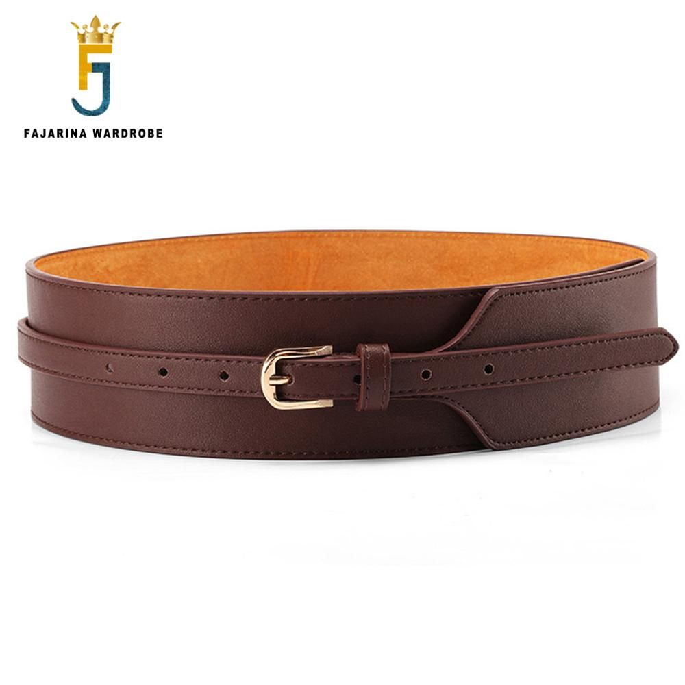 FAJARINA qualité boucle ardillon Style féminin ceintures larges robe manteau Dres dames en cuir ceinture décorative femmes ceinture LDFJ028