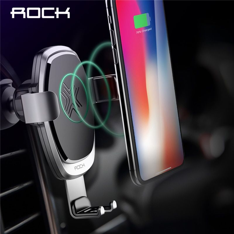 10 W QI chargeur de voiture sans fil support de gravité, ROCK pour iPhone X 8 Plus Samsung Galaxy S8 S7 Note 8 support de Charge rapide