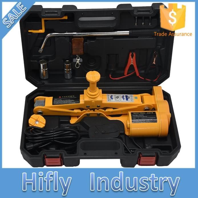 12V DC 2.5T(5500lb) Electric Car Jack - Double Saddles for Vehicle and SUV - and Wheel Nut Wrench with Wireless Remote