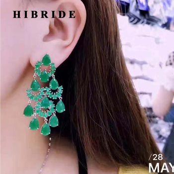 HIBRIDE Vert Goutte D'eau Femmes Balancent Boucles D'oreilles Pour Cadeaux CZ pierre Boucle D'oreille Longue de Baisse Pour Les Femmes De Mariée Cadeaux Bijoux De Mode E-411