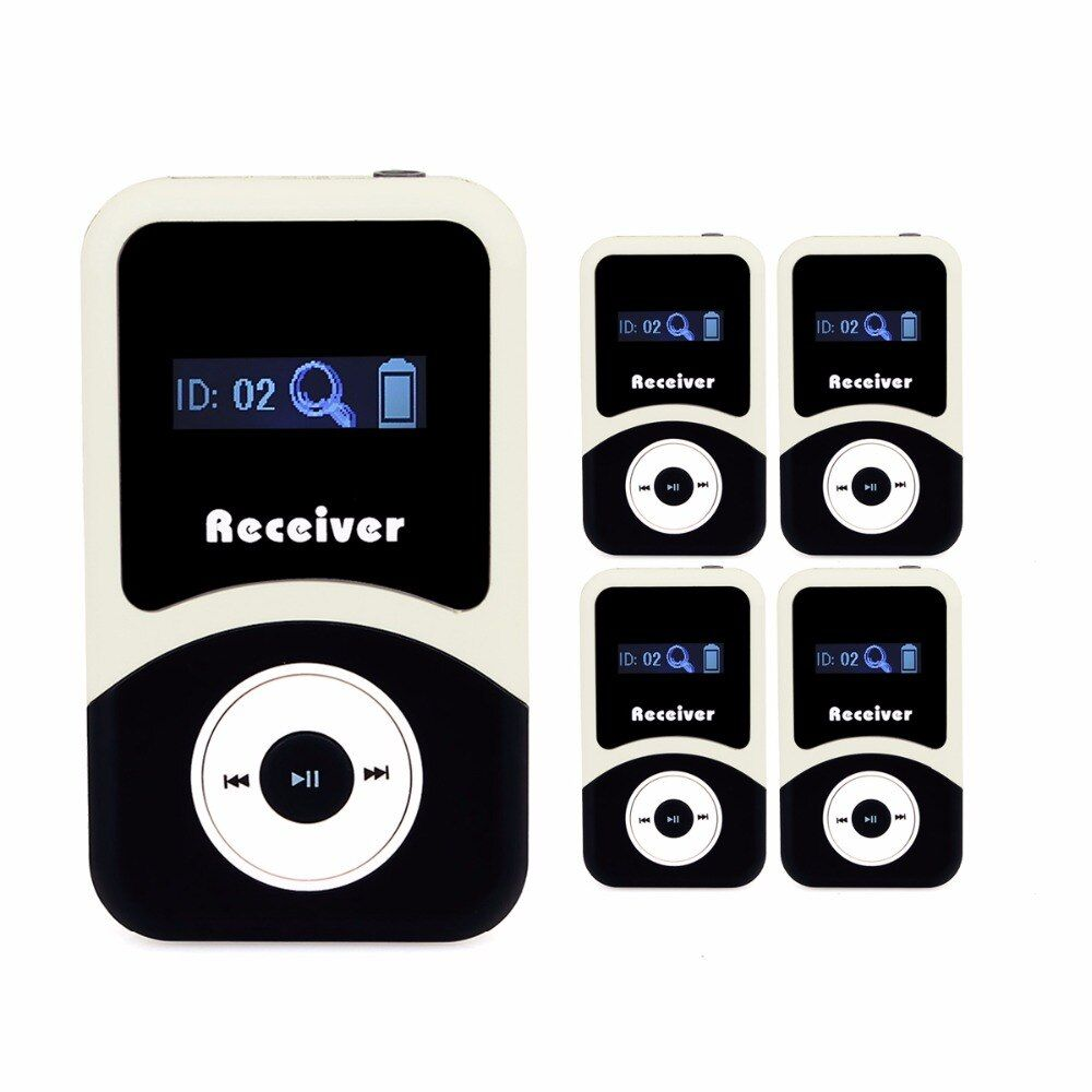 5pcs Tivdio 99 Channels Portable Wireless Receiver For Tour Guide System/Simultaneous Meeting /Wireless Meeting/Church F4505A